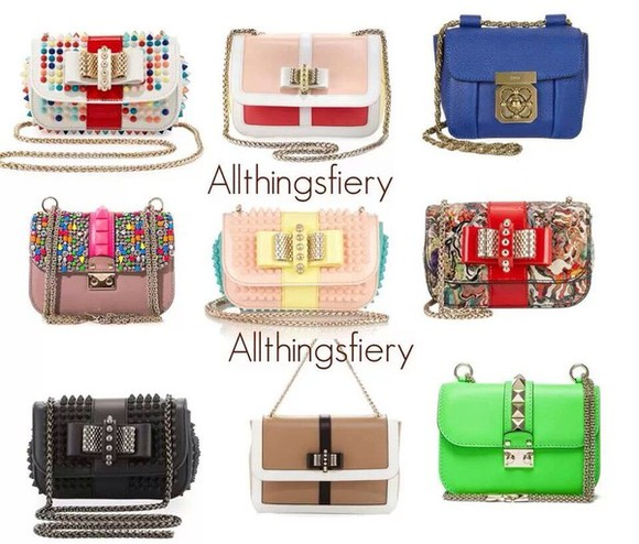 chain white blue bag pink purse spikes studs bow girly trendy new handbag style chain strap bag