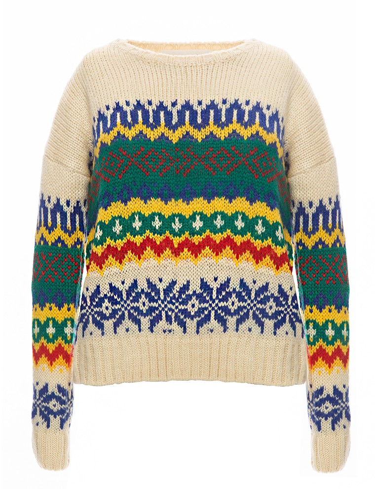 Ivory Ethnic Sweater - Vintage Colorful Sweater - $52