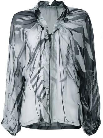 blouse zip drawstring white top
