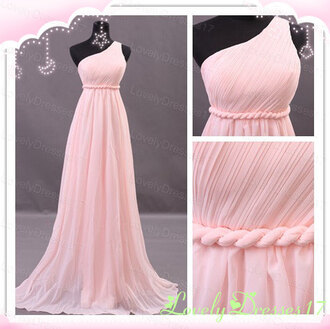 dress prom dress pink dress one shoulder bridesmaid