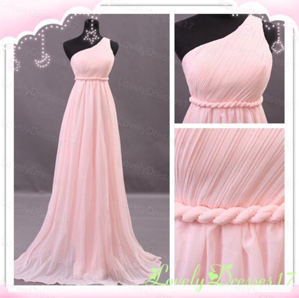 dress dress prom dress pink dress one shoulder bridesmaid