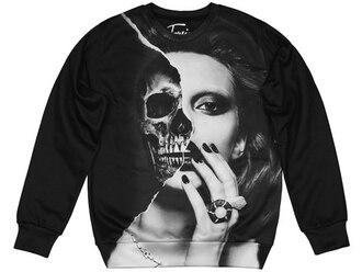 sweater black skull print sweatshirt streetwear black sweater printed sweater girl crewneck fusion fall sweater skull print
