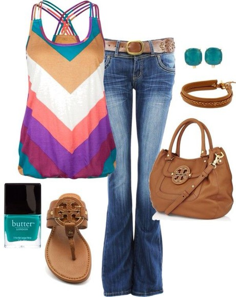 multi-colored tank top chevron top