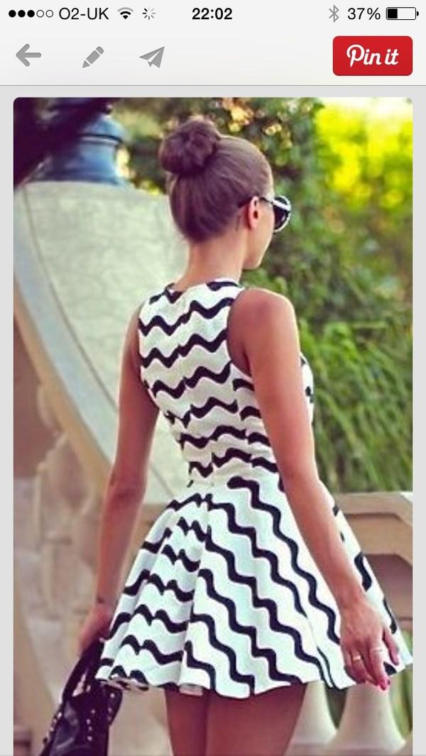 dress black and white dress skater dress short dress