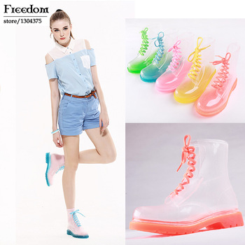 free shipping Martin Rain Boots 2014 PVC Transparent Women Colorful Crystal Clear Flats Heels Water Shoes Female Rainboot 35 41-in Boots from Shoes on Aliexpress.com | Alibaba Group