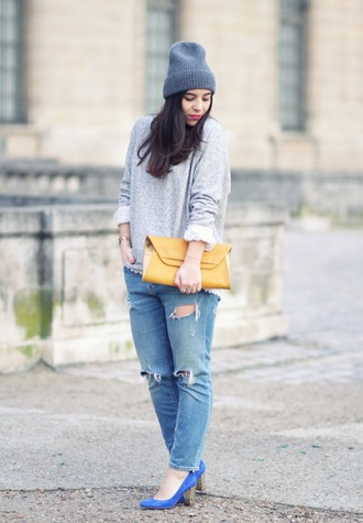 barock and roll blogger pouch ripped jeans grey sweater