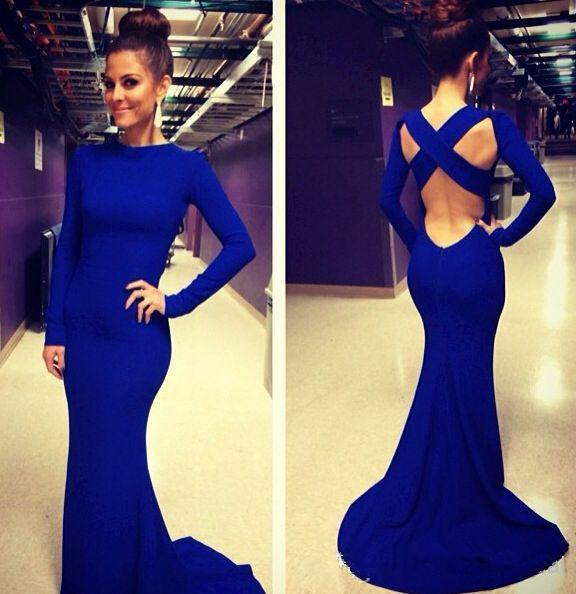 Discount 2014 Gorgerous Evening Dress High Neck Long Sleeve Cross Backless Mermaid Spandex Formal Dresses Royal Blue Prom Party Gowns Hot Sale Online with $36.86/Piece | DHgate