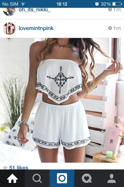 romper black and white top shirt found on instagram shoes shorts white romper summer summer outfits two-piece strapless dress outfit hippie crop tops style vintage jumper white crop tops jumpsuit beach spring two piece dress set fall outfits cute outfit idea outdoor