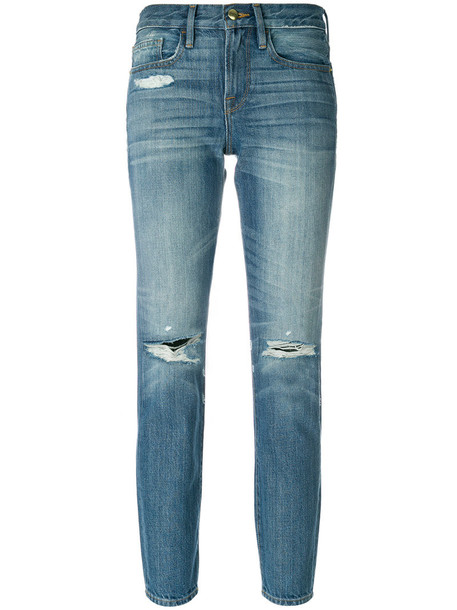 Frame Denim jeans cropped jeans cropped women cotton blue