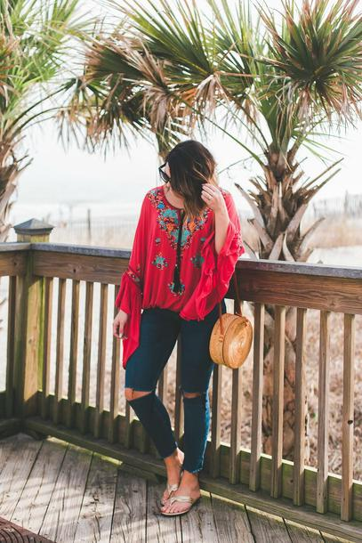 life & messy hair bag blogger shoes sunglasses top round bag skinny jeans flats bell sleeves