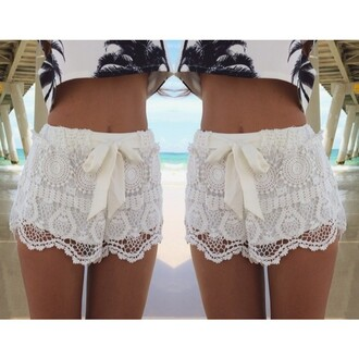 shorts lace shorts white lace girly girly shorts fashion new party dress sexy hot short lady crochet good beautiful shorts slim bow nightclub summer cool new arrival bow knot