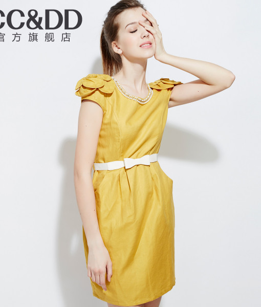 Ccdd 2014 summer women's small linen one-piece dress beading disk flowers candy color | Amazing Shoes UK