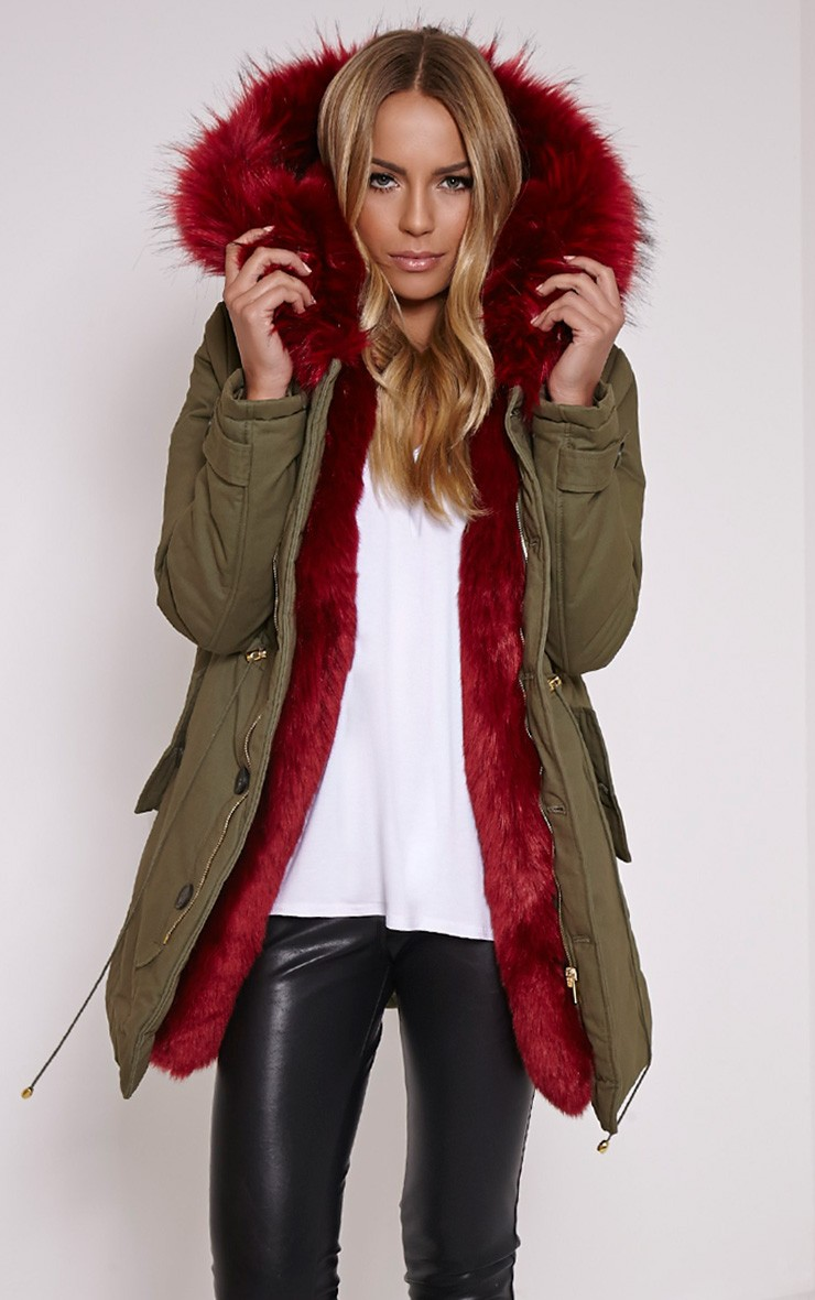 Red Fur Lined Premium Parka Coat - Coats & Jackets ...