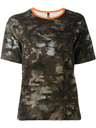 t-shirt shirt women camouflage spandex cotton green top