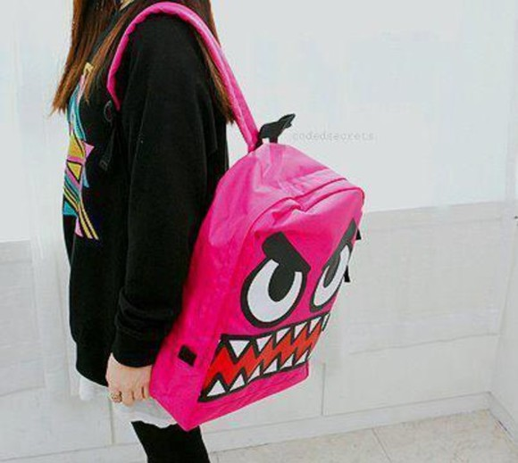 bag monster backpack backpacks pink bag