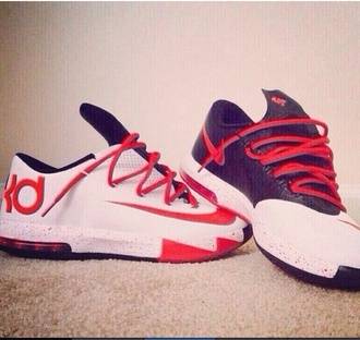 leather shoes black white red kevin durant sneakers kds 6