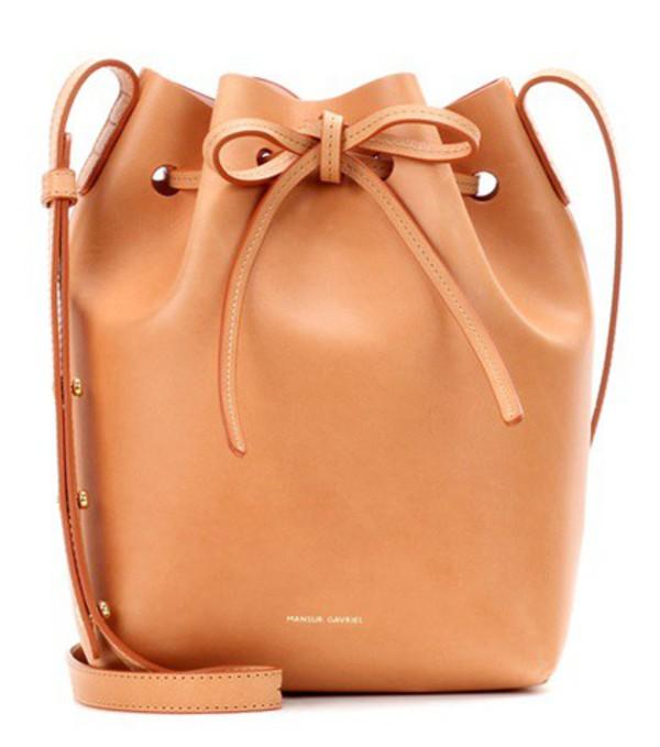 Mansur Gavriel Mini Bucket Leather Crossbody Bag in beige / beige