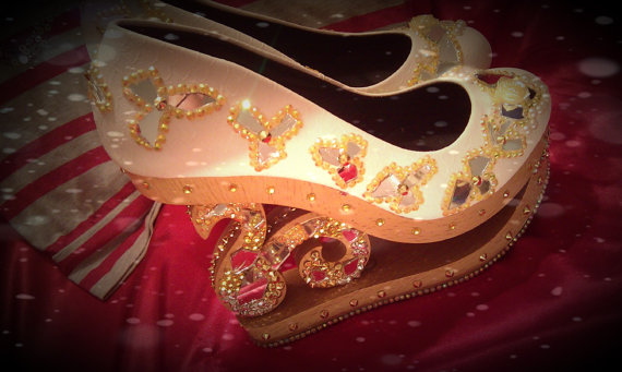 Cinderellas mirrors glass slippers with crystal by omgscustomshoes