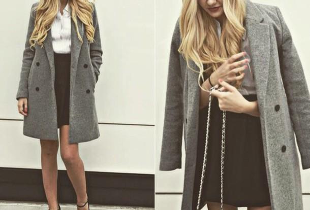 Superb Coat Grey Sweater Grey Jacket Fashion Style Classy Wheretoget Hairstyle Inspiration Daily Dogsangcom
