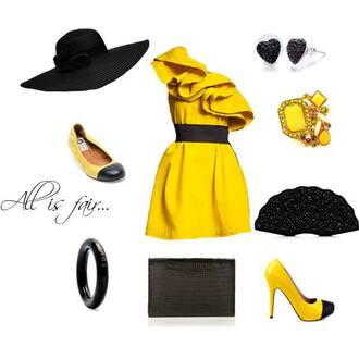 dress yellow ring heels shoes accessories earrings hat flat purse hobo