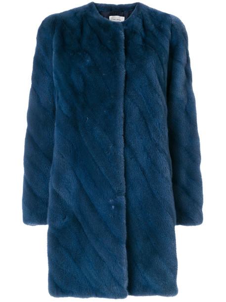 Yves Salomon coat fur women midi blue silk