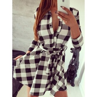 dress plaid black and white long sleeves stylish turn-down collar 3/4 sleeve gingham belted dress for women fashion cool girly cute