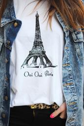 t-shirt,paris,white,belt,tiger,printed t-shirt,eiffel tower,eiffel towers,black and white,shirt,french,weheartit,girly,cute,denim jacket,oui,leopard print,black,print