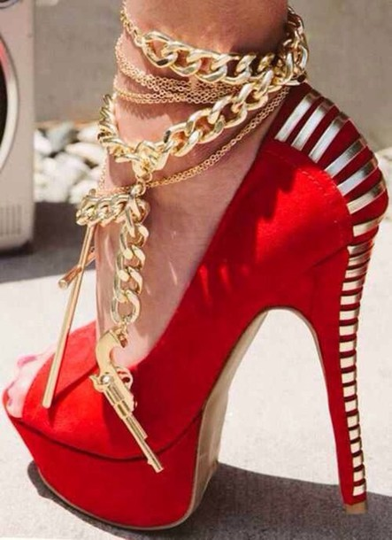 Shoes: jewels, red high heels, gold cross, anklet, gold chain ...