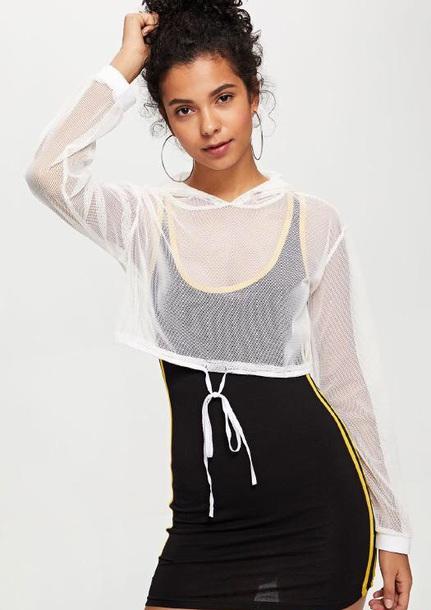 sweater sheer girly girl girly wishlist crop tops cropped crop cropped sweater white mesh see through hoodie