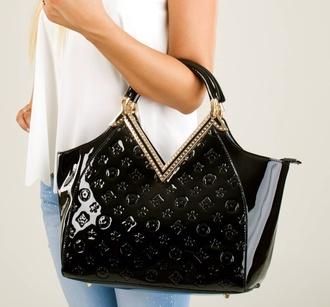 bag lv gold trimmed accessories outfit black black bag fashion trendy louis vuitton