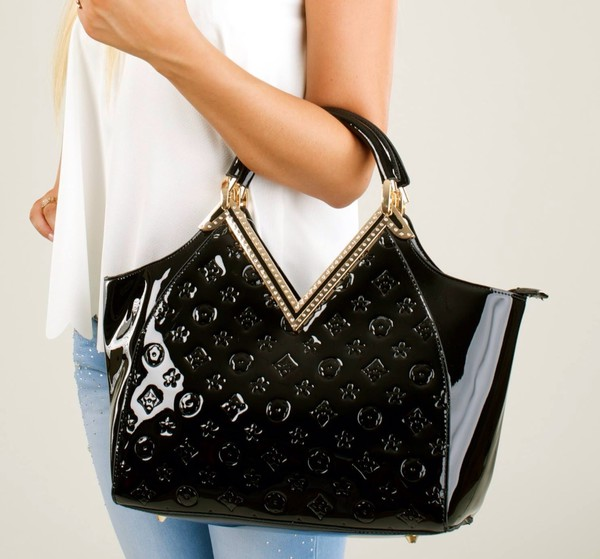 bag bag lv gold trimmed accessories outfit black black bag fashion trendy louis vuitton
