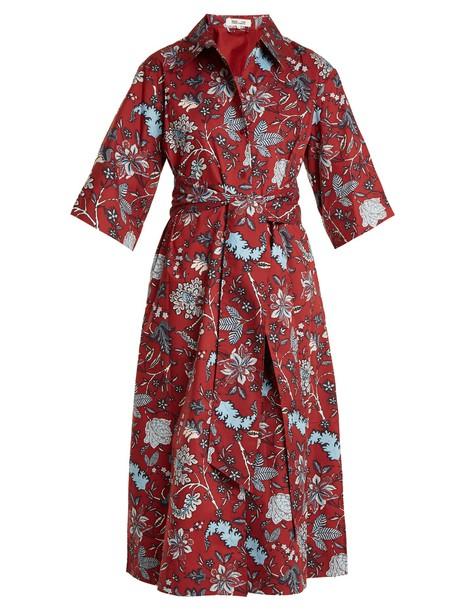 dress cotton print burgundy