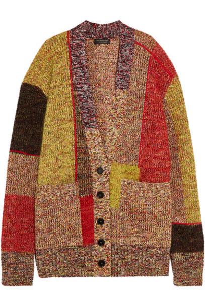 Burberry cardigan cardigan patchwork wool yellow sweater