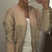 jacket,beige,bomber jacket,nude,nude jacket,tan