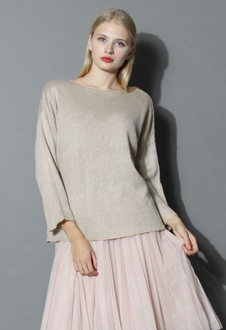 sweater tie a ribbon bow knit top in beige chicwish