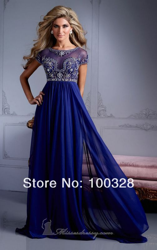 Aliexpress.com   Buy Empire Waist Crystal Royal Blue Chiffon Floor Length  Long Free Shipping Short Sleeves Formal Evening Dress ... d1db9fa0d535