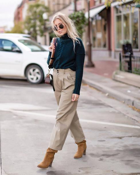 pants tumblr culottes nude pants cropped pants boots suede suede boots sweater knit knitwear knitted sweater sunglasses