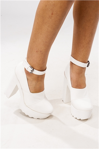 Stella White Platform Ankle Strap heels at misspap.co.uk