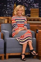 sienna miller,sandals,knitted dress,knitwear,striped dress,jewels,choker necklace,printed knit dress,midi knit dress