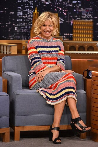 sienna miller sandals knitted dress knitwear striped dress jewels choker necklace