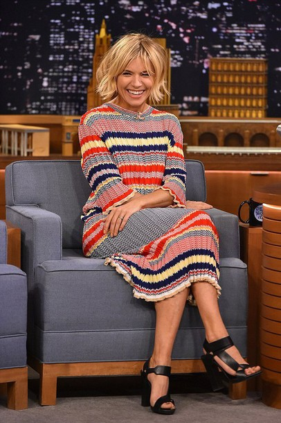 sienna miller sandals knitted dress knitwear striped dress jewels choker necklace