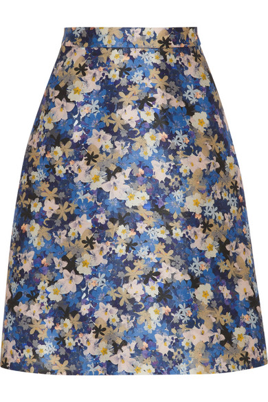 J.Crew | Collection floral-print wool and silk-blend skirt | NET-A-PORTER.COM
