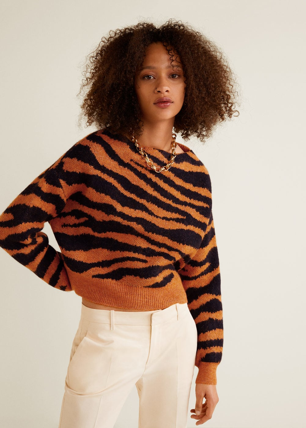 Tiger print sweater - Women | Mango USA