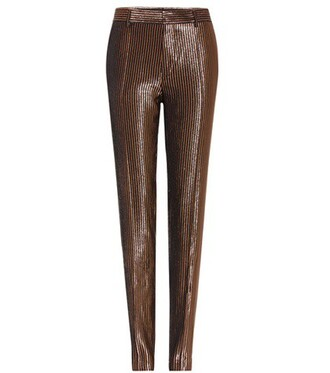 metallic silk wool pants