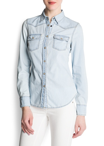 MANGO - CLOTHING - Tops - Bleached denim shirt