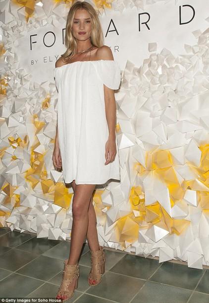 dress white rosie huntington-whiteley white dress boho dress sandals off the shoulder shoes