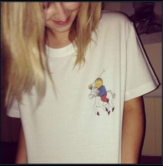 t-shirt the simpsons ralph ralph lauren funny the simpson white t-shirt