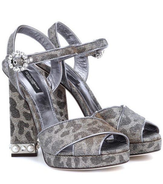 Dolce & Gabbana Leopard-print platform sandals in silver