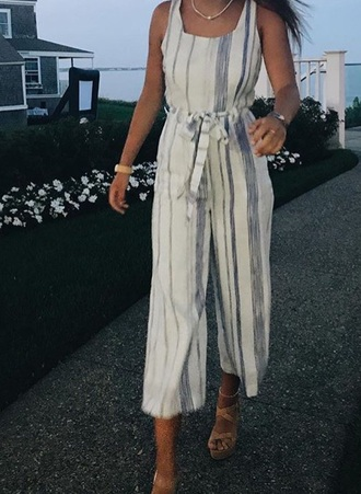 jumpsuit blue and white striped