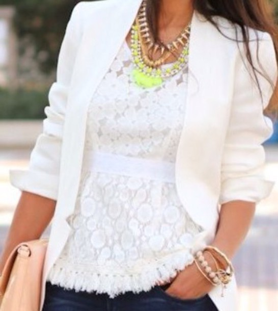 coat white fitted blazer